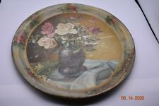 Antique 1920s Toleware Metal Serving Tray Floral Wall Hanging Decor Old Vintage