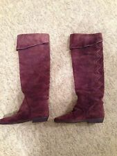 Plum Suede Tall Boots - Vintage Candie's Brand