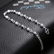 Lady's Crystal 925-Filled Silver Ball Chain Bracelet Beauty Women Bangle Jewelry