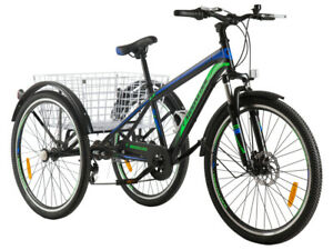 """Men Women's 7 Speed Cruiser Bicycle w/ Black Seat/Grips 24"""" Wheels Mountain Bike"""