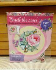Vintage rose cross stitch card kit