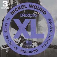 D'Addario EXL115-3D 3 Pack - Blues/Jazz Rock 11-49