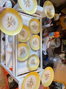 VINTAGE AUTUMN 24k GOLD WHEAT 12 PC SETTING, CENTURY SERVICE, W/ 9 Dinner Plates