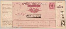 """55375 - ITALIA REGNO -  CARTOLINA VAGLIA Postale: 20 Lire ANNULLATO - V 11 """"B"""""""