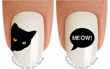 "Nail Decals #2058 CATS ""Black Cat Meow"" WaterSlide Nail Art Transfers Stickers"