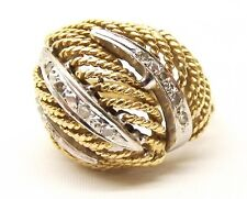 Vtg Heavy 14K Gold Diamond Ring Huge Chunky Sz 7 Woven Rope Braided Cocktail