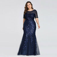 Ever-Pretty Plus Size Long Sequin Fishtail Prom Dress Evening Bodycon Gown Navy