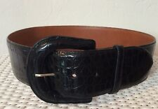Ralph Lauren Collection vtg 2� wide black genuine alligator belt & buckle sz 30�