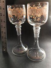 Antiques Popular Brand Set Of 3 Antique Gold Gilted Rimmed Pilsner Type Glasses Latest Fashion Decorative Arts