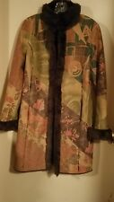Colorful Lapis Suede Like Coat Faux Fur Lined Cuffed Coat XL (L) Perfect Cond