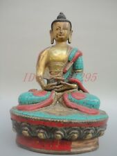 Collection China Tibet Old Bronze Carved Blessed Mani  Buddha Mosaic Turquoise