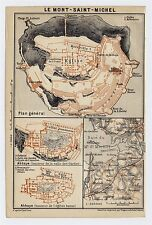 1919 ORIGINAL ANTIQUE MAP OF LE MONT-SAINT-MICHEL / NORMANDY NORMANDIE / FRANCE