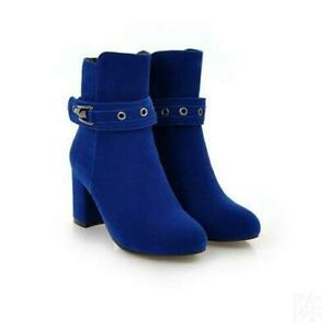 Women's Ladies Ankle Boots Block Heel Buckle Zip Casual Shoes Velvet Faux SUede