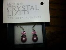 Genuine Swarovski Elements Gift Boxed Rose Pink Crystal + Pearl Earrings