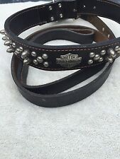 "Harley Davidson Black Leather Studded Dog Collar for XL Dog - 28"""