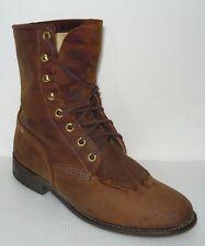 VINTAGE-Lace-up Brown Leather Women's Boots Sz 7.5M