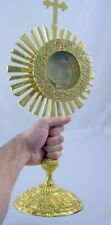 "Catholic Gold Relic Case Reliquary Monstrance W Cross Sacred Vessel 16"" Tall NIB"