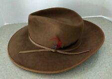 Stetson Western Cowboy Hat 4X XXXX Brown Feather Gun Club Size 56 7 Mens