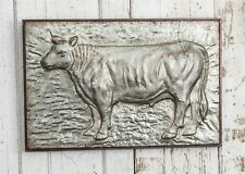 Large Embossed Cow Plaque Metal Wall Hanging Farmhouse Decor