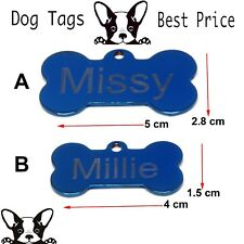 Engraved Pet Tags Chrome Blue Plated DOG  ID Bone Tag Free P&P Deep Engraving