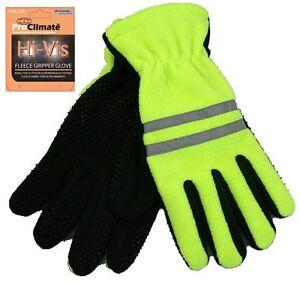 High-Viz Visibility Fleece Gripper Gloves Scotchlite Reflective Workwear winter