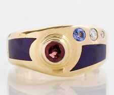 Sugalite 14K Gold, Diamond, & Tanzanite Ring