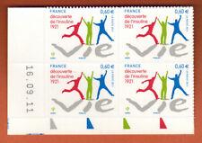 2011 - ADHESIF - BLOC..COIN DATE - DECOUVERTE DE L'INSULINE - 4 TIMBRES - Yt.635