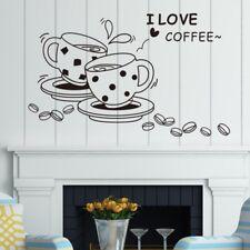 Sticker café ''I LOVE COFFEE'' art mural amovible autocollant muraux salon, déco
