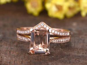 2.80Ct Emerald Cut Morganite Wedding Curved Bridal Ring Set 14k Rose Gold Over