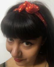 Bandeau foulard cheveux rigide cordon maléable rouge à pois jaunes pinup rétro