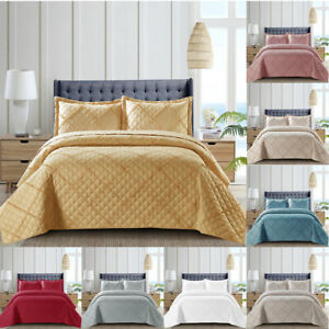 3 Piece Quilted Bedspread Embossed Bed Throw Single Double King Size Bedding Set