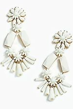 JCREW WHITE FLOWER AND BEAD CHANDELIER EARRINGS--NEW WITH TAG--SRP $65