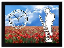 THERE BUT NOT THERE GIFT MANTEL OR DESK CLOCK Tommy and Poppy Field remembrance