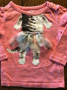 Crazy 8 Girls Paws-itively Fall Pink Polka Dot Kitty Top Size 3-6 Months