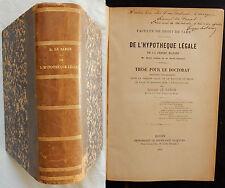 Y/ Thèse Doctorat G. Le Baron DE L'HYPOTHÈQUE LÉGALE (1879) relié