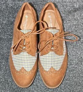 New TU Shoes Tan Suede Effect & Tartan Sole Comfort Brogue Style Tie Up UK 6
