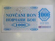 Bosnia Banknote 1,000 Dinara Unc P.8g (Bosian War) 2nd Provincial Issue 1992