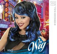 Long Black Blue Wig Sexy Temptress Katy Perry Halloween Fancy Dress