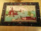 Old Antique RARE American Made Folk Art Hooked Rug Chinese Pagoda Scene Found NH