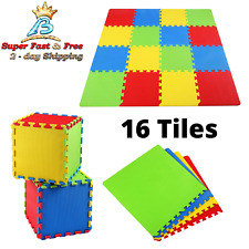 Kids Foam Play Mat Baby Crawling Activity Gym Crawl Infant Floor Carpet 16 Tiles