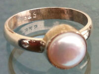 Sterling Silver Traditional Asian Vintage Style Pearl Ring Size L 1/2 Gift
