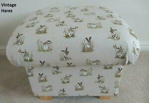 Storage Footstool Vintage Hares Fabric Pouffe Footstall Animals Nursery Beige
