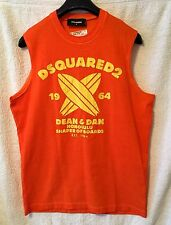 $235.00 AUTHENTIC NEW, DSQUARED2 PRINTED ORANGE COTTON TANK TOP  SIZE M, M/ITALY