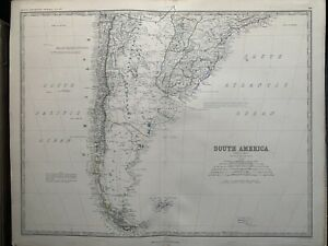 1867 South America (South Part) Large Hand Coloured Antique Map by Johnston