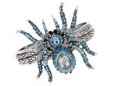 New Alloy Crystal Blue Rhinestone Halloween Spider Bangle Bracelet Cuff Jewelry