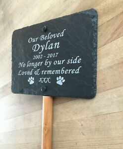 Personalised Engraved Pet Memorial Slate Headstone Grave Marker Plaque & Stake
