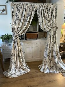 DORMA Emilio Ivory Charcoal Vintage French Toile Damask Curtains 90d Shabby Chic