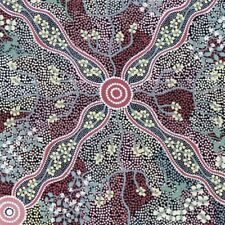 Australian Aboriginal Quilting Fabric - Yuendumu Bush Tomato Black by Fq & Metre