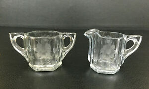 Antique Edwardian clear pressed / etched glass creamer & sugar bowl 1900s 1910s