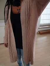 Mantel Long Cardigan Neu XL 44 Mohair Wolle Strick Jacke Blogger Rosa Musthave